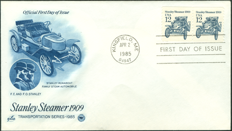 FDC 1985 Stanley Steam Car Stamp