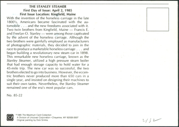 12centstanleysteamcar First Day Cover Postcard