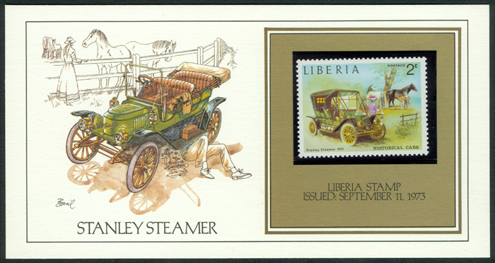 Liberia Stanley Steam Car Stamp