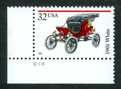 White Steam Car Stamp