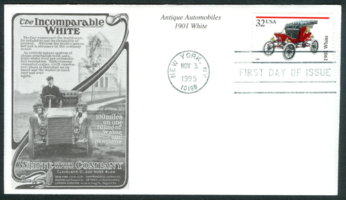 White Steam Car First Day Cover