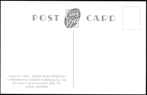 Edwin Foden, Sons & Company, Postcard, Dalkeith Publishing Company, Card  N0 1303, Reverse