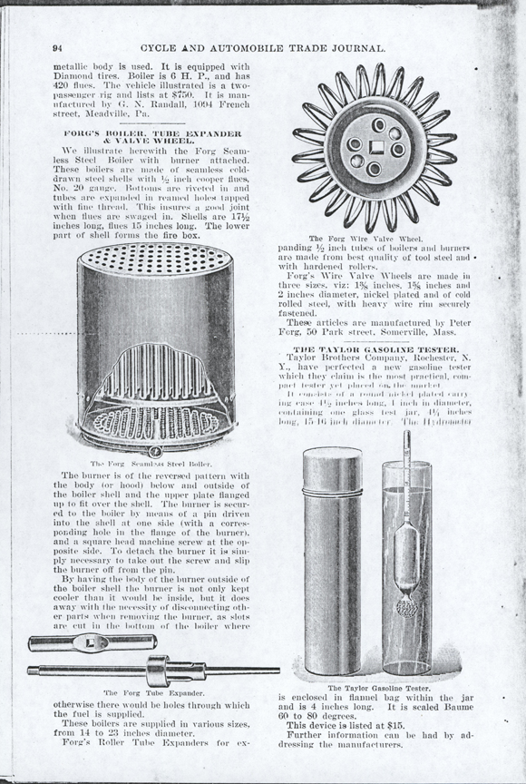 Peter Forg, Kerosene Burner for Steam Cars, Cycle and Automobile Trade Journal, March 1, 1902, p. 94, Conde Collection