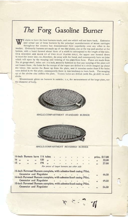Peter Forg, Gasoline Burner for Steam Cars, May 6, 1906, Trade Catalogue p. 2