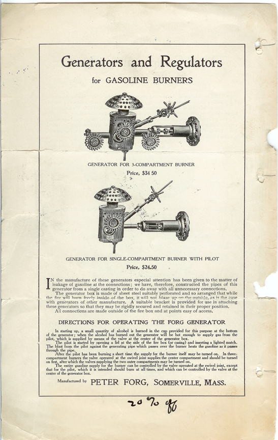 Peter Forg, Gasoline Burner for Steam Cars, May 6, 1906, Trade Catalogue p. 4