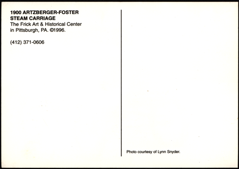 Foster-Artzberger Steam Carriage, Frick Art & History Center, Postcard R3everse