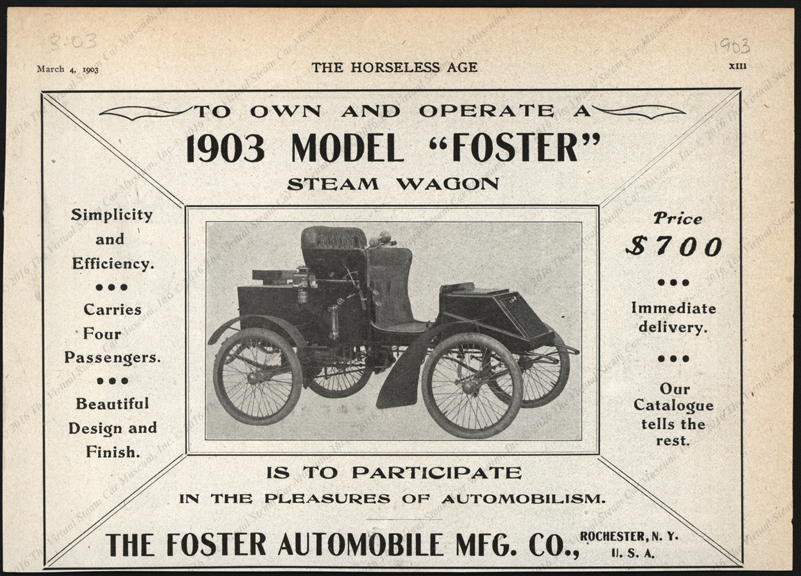 Foster Automobile Manufacturing Company Magazine Advertisement, March 4, 1903, Horseless Age, p. xiii