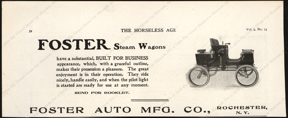 Foster Automobile Manufacturing Comp;any, Horseless Age March 26, 1902, Vol. 9, No. 13, Page iv.
