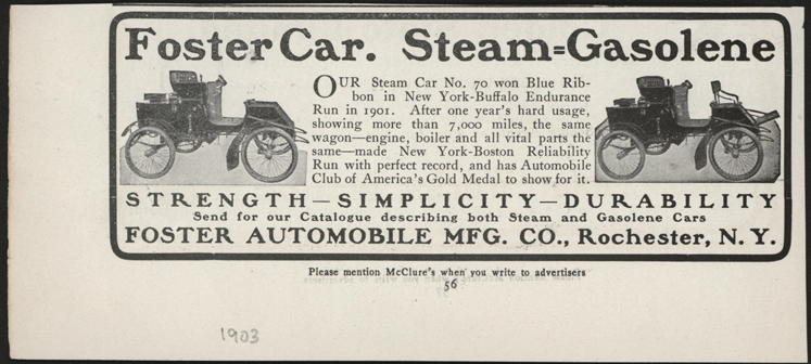 Foster Automobile Manufacturing COmpany, Rochester, NY, 1903 McClure's Magazine Advertisement, p. 56, John A. Conde Collectionf