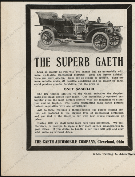 Gaeth Automobile Company 1908, Motor Age Magazine Advertisement