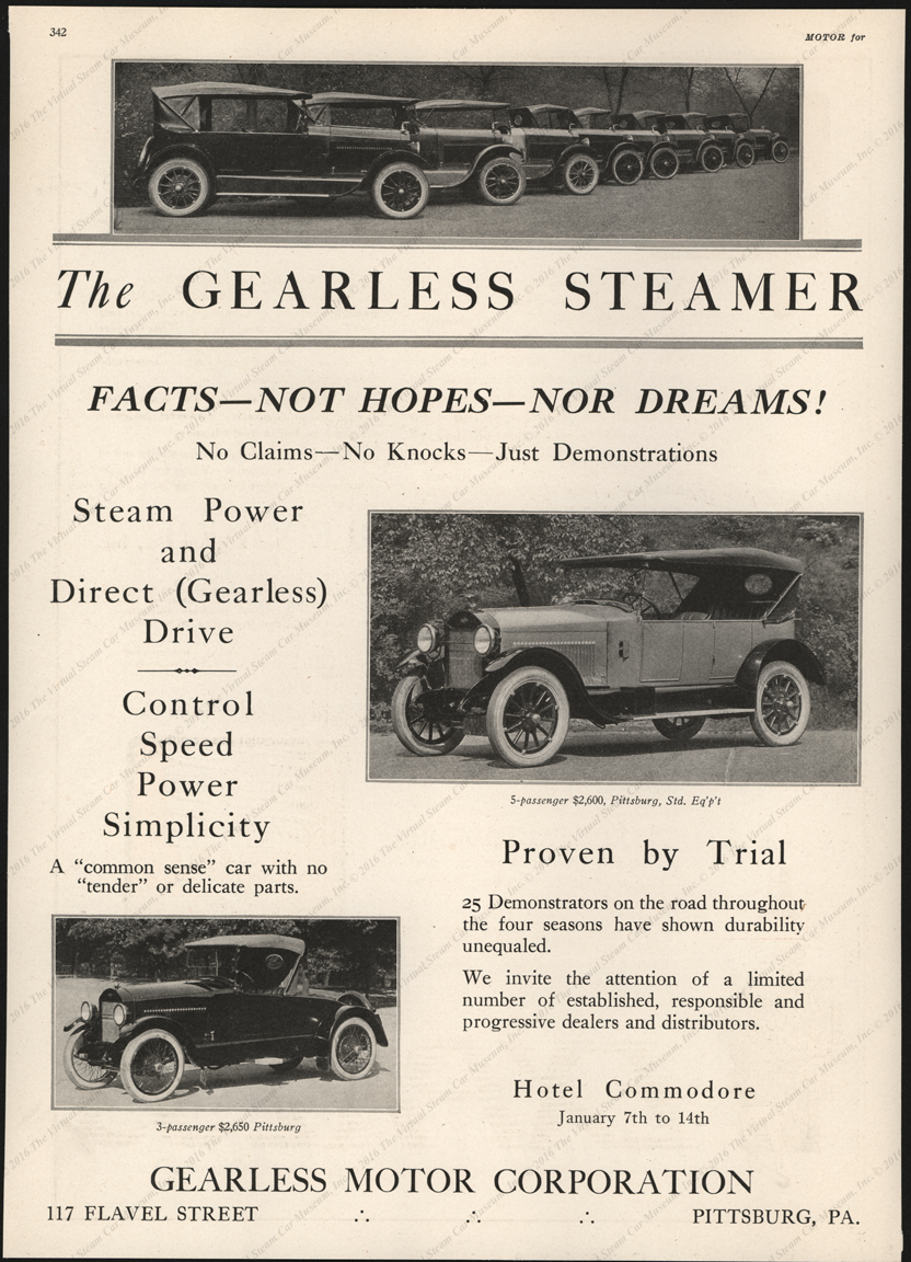 Gearless Motor Corporation, Magazine Advertisement, January 1922, Motor Magazine, p. 342
