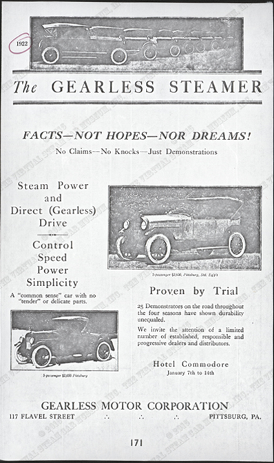 Gearless Motor Corporation 1922 Advertisement Photocopy from Floyd Clymer, Conde Collection.