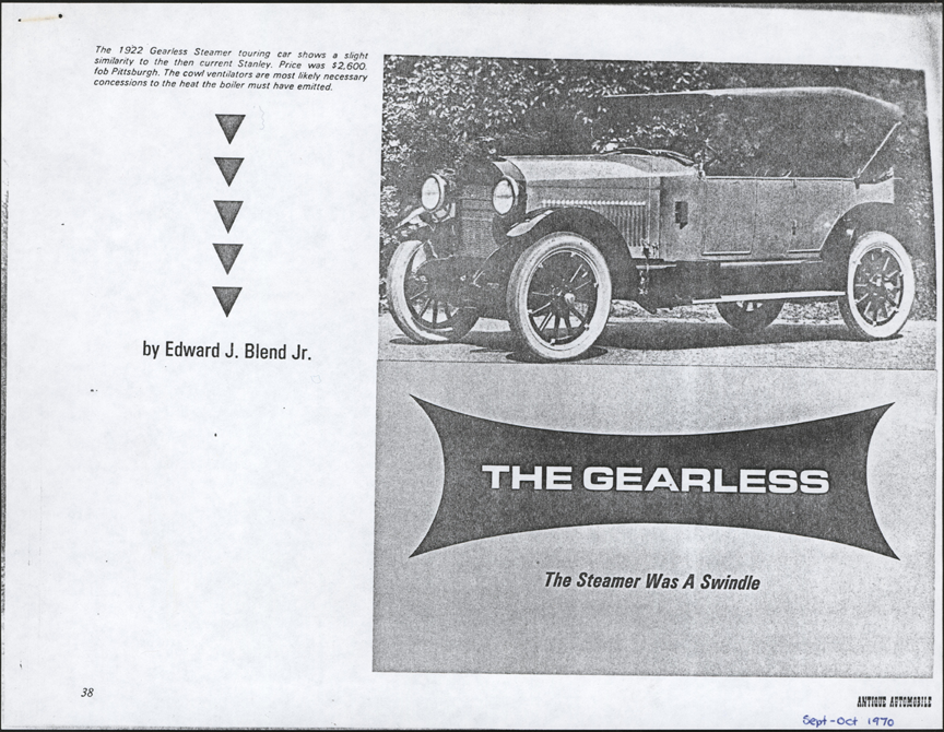 Gearless Motor Corporation Article by Edward Blend, Antique Automobile, September/October 1970, Photocopy, Conde Collection.