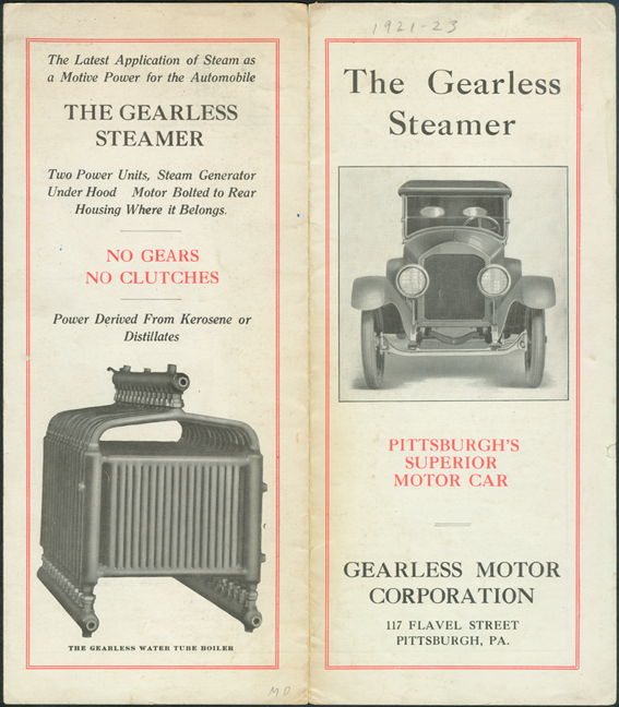 Gearless Motor Corporation Trade Catalogue, ca: 1922.