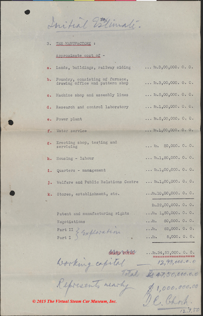 D. C. Ghosh, Initial Estimates of Steam Car Project Costs, Indian Government, July 12, 1950