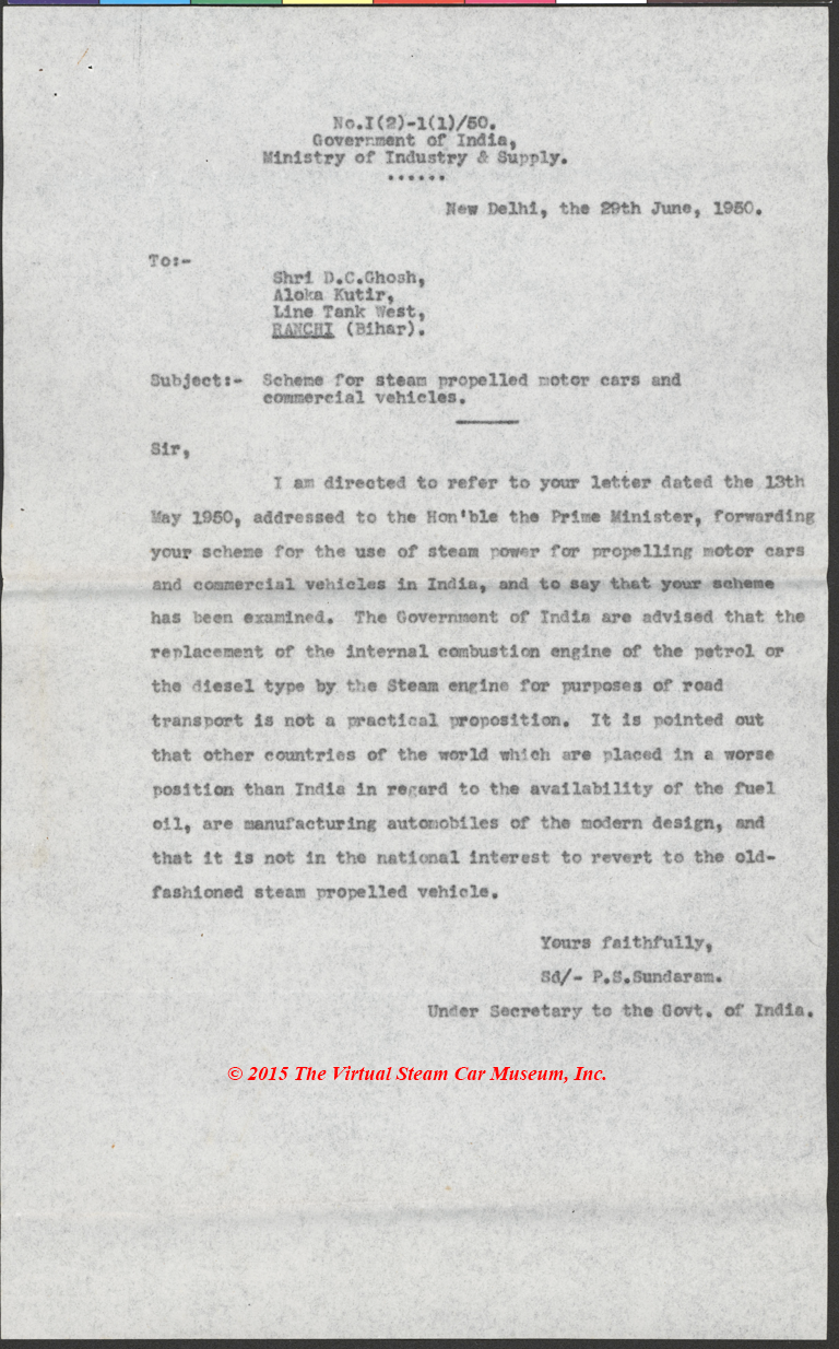 D. C. Ghosh, Initial Estimates of Steam Car Letter to Indian Government, June 19, 1950