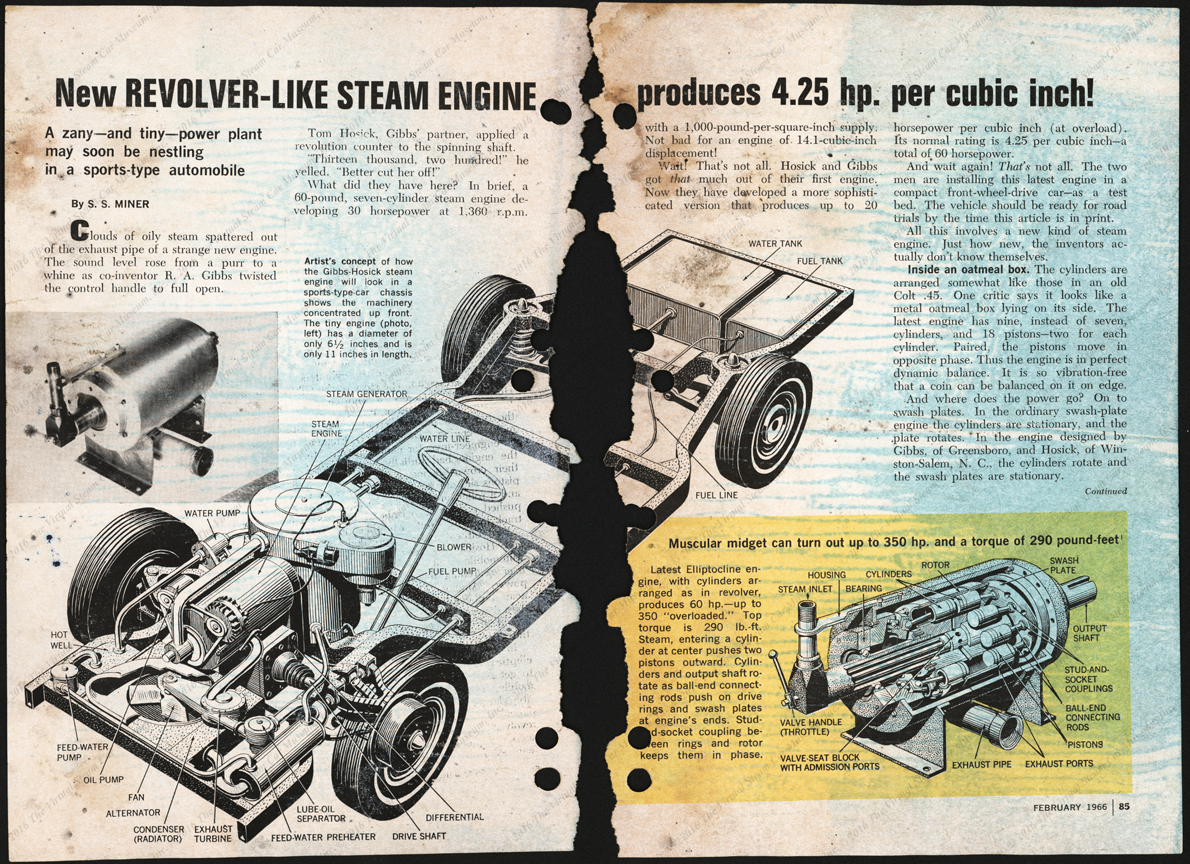 R. A. Gibbs and Tom Housick Steam Car, February 1966 Article,  Popular Science, pp.  84 - 88