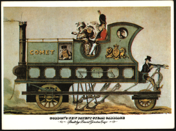 David Gordon Steam Carriage 1824, Modern Postcard Front