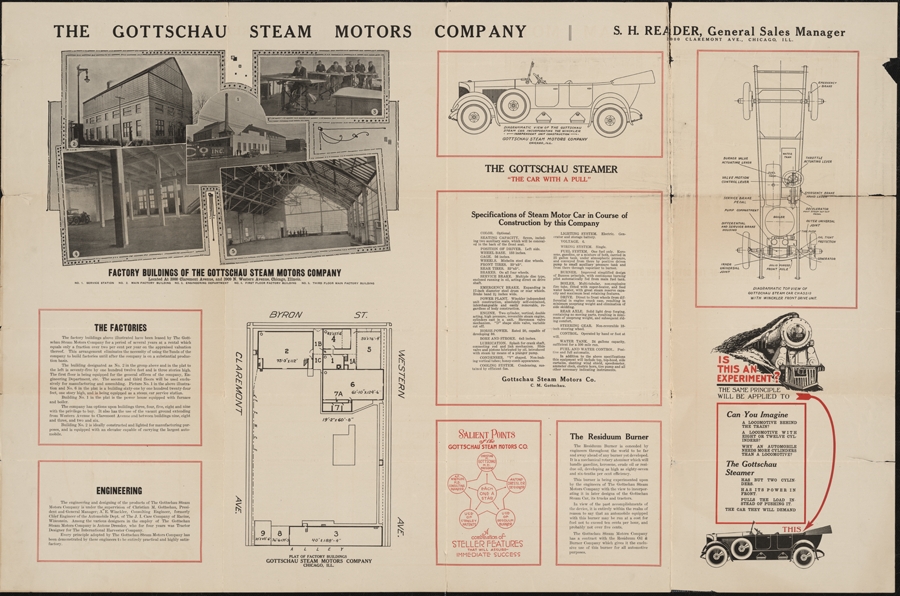 Gottschau Steam Motors Company, Chicago, IL, ca: 1920, Large fold-out brochure