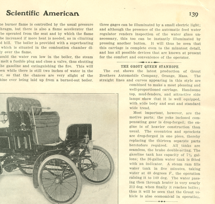 Grout Bros Queen Stanhope, March 1, 1902 Scientific American Article