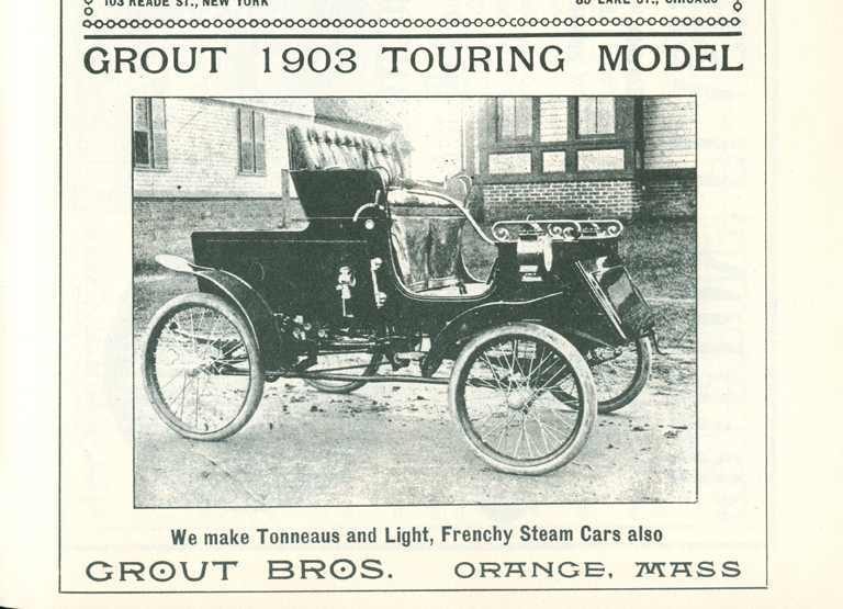 Grout Bros 1903 Touring Model Steam Car, Clymer p. 51.