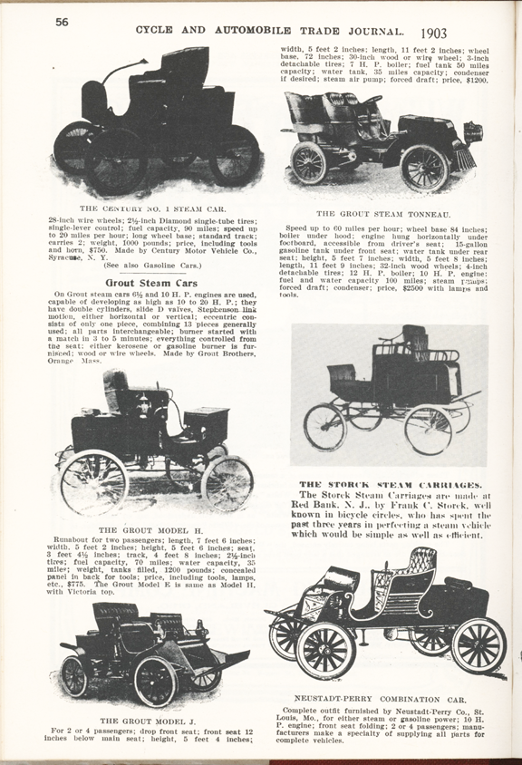 Grout Bros Steam Car article, Cycle and Automobile Trade Journal, 1903, Clymer p. 56.