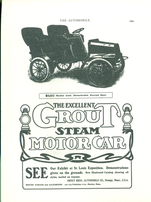 Grout Bros. Automobile Company, The Automobile, 1904 advertisement, Clymer p. 63