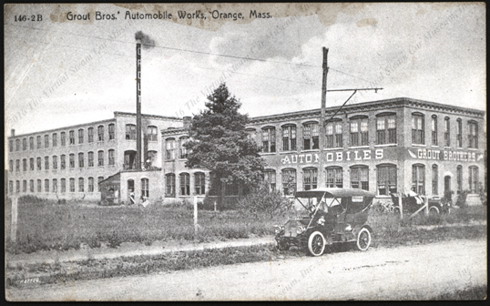 Grout Brothers Automobile Company, Orange, Massachusetts, card, ca: 1906