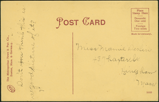 Grout Brothers Automobile Company Factory, Post Card, ca: 1907 - 1909, Reverse.