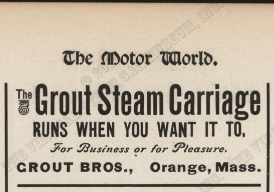 Grout Bros magazine advertisement, Motor World, September 11, 1902, page 719