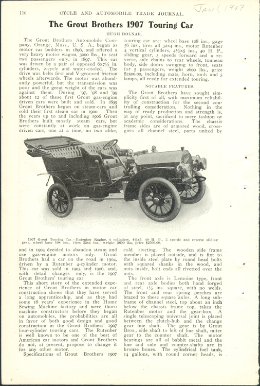 Grout Brothers Automobile Company, Cycle and Automobile Trade Journal, January 1, 1907, p. 110.