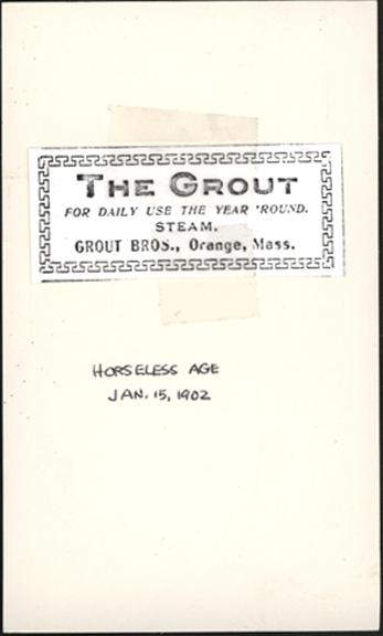 Grout Brothers Advertisement, Horseless Age, on January 15, 1902.  Photocopy. Conde Collection.