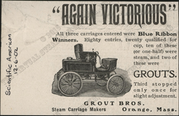 Grout Brothers advertisement, Scientific American, June 12, 1902, Conde Collection.