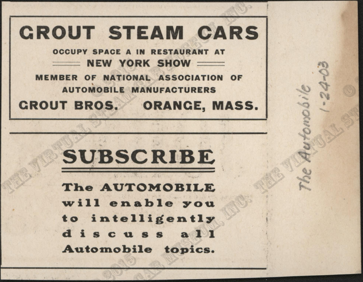 Grout Brothers Advertisement, The Automobile, January 24, 1903, Conde Collection.