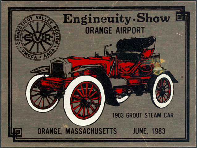 Grout Brothers Automobile Company, Dash Plaque, June 1983, Enginueity Show, Orange, MA.