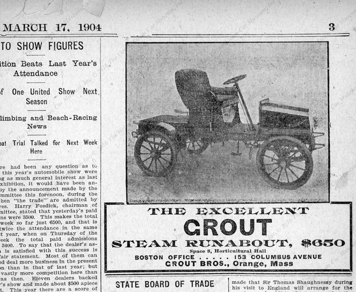 Grout Brothers Automobie Company, Boston Evening Transcript, newspaper advertisement March 17, 1904, page 3.