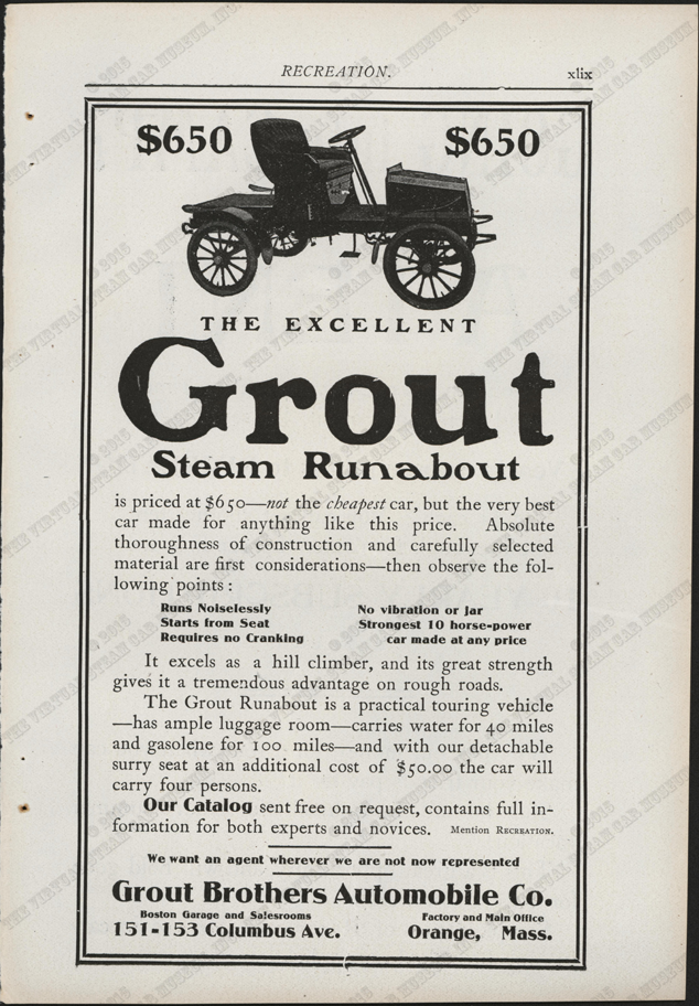 The Grout Brothers Automobile Company magazine advertisement, Recreation Magazine, September 1904, p. xlix