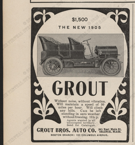 The Horseless Age, Vol. 15, No. 2, January 11, 1905, Grout Brothers Auto Company steam car advertisement, page XLVI