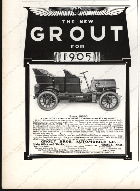 Grout Brothers Automobile Company, January 1905 Motor Magazine Advertisement, p. 108