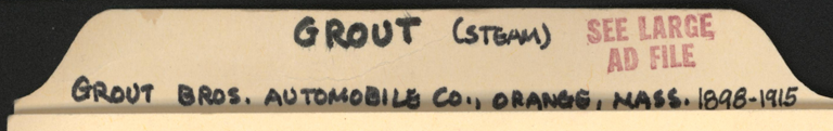 Grout Brothers Automobile Company, John Conde's File Folder
