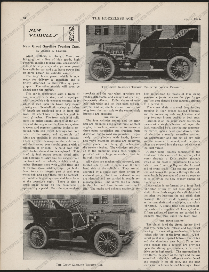 Grout Brothers Automobile Company, Horseless Age, January 12, 1905, Vol. 16, No. 2, P. 94, Conde Collection.