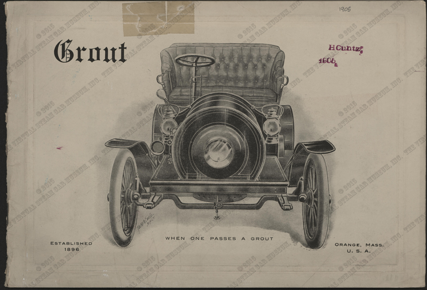 Grout Brothers Automobile Company, 1905 Trade Catalolgue, John A. Conde Collection