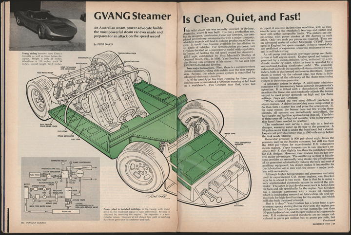 GVANG Steam Car, Gene Van Grecken, Popular Science, December 1972, pp. 56 - 57.