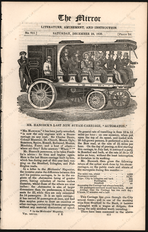 Walter Hancock Steam Carriage, The Mirror, December 24, 1836, The Automaton, p 417