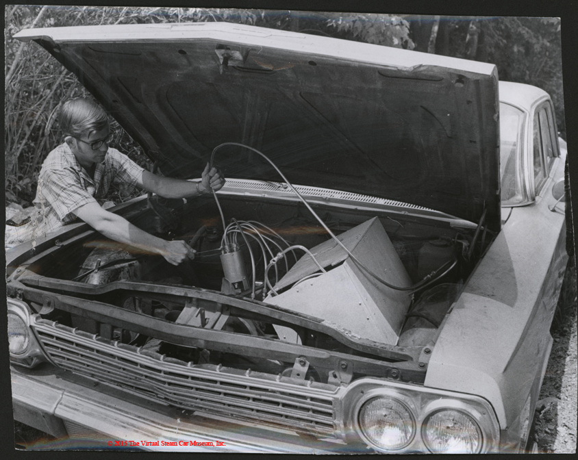 Warren Heath Kerosene-Steam Engine in 1963 Chevrolet, Press Photograph, June 16, 1970, Front