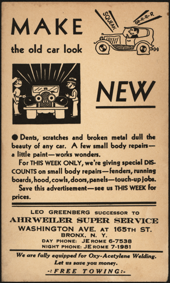 1920s Auto Body Advertising Postcard Front