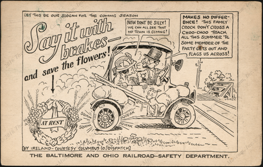 Baltimore & Ohio Railroad Safety Deparatment Comic Postcard, October 9, 1923, front