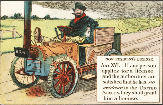 Comic Steam Car Post Card, Article XVI Front