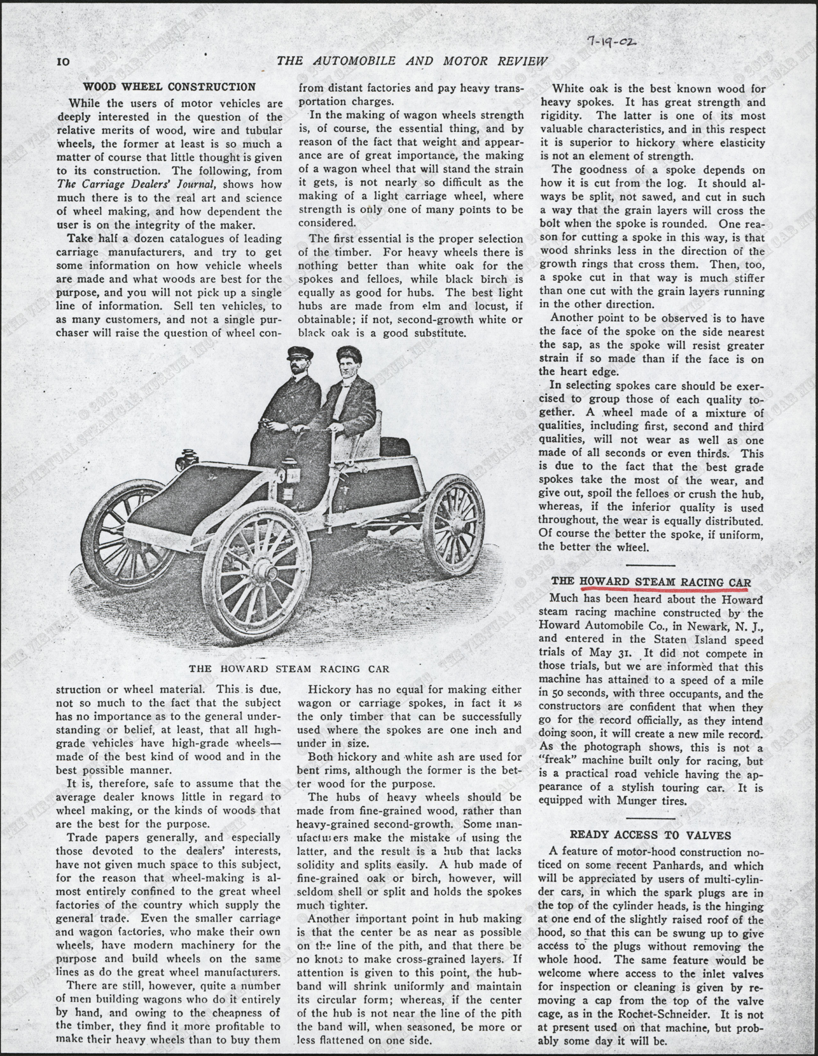 Howard Automobile Company, Howard Steam Racing Car, Automobile and Motor Review Article, P. 10, Photocopy, Conde Collection.