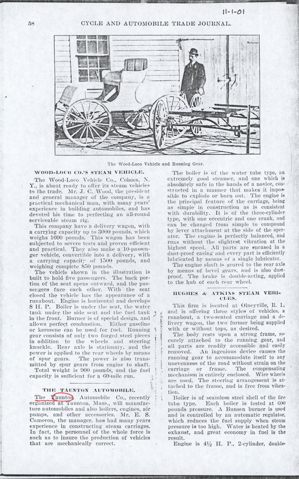 Hughes and Atkins Steam Vehicle, November 1901 Magazine Article, Cycle and Automobile Trade Journal, Photocopy, Conde Collection